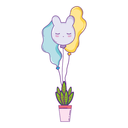 party balloons helium with houseplant vector illustration design Ilustração