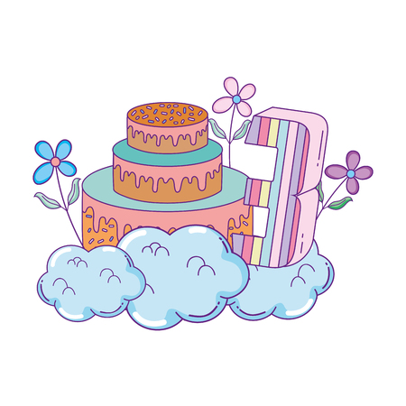 party cake with flowers and and candle number three number vector design