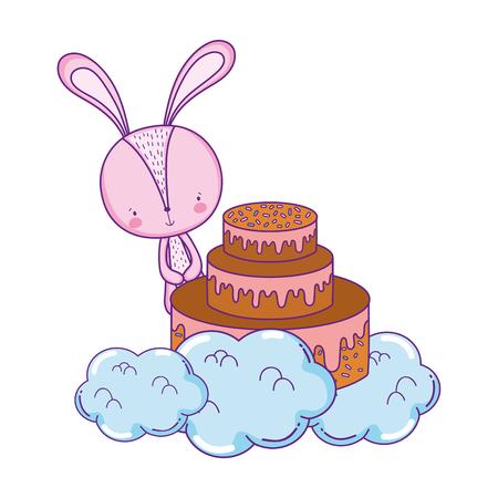 cute little rabbit with sweet cake vector illustration design Illustration