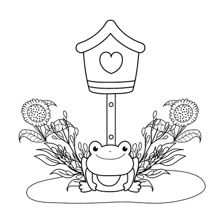 cute toad in the landscape with birdhouse vector illustration design