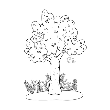 cute tree plant with party decoration