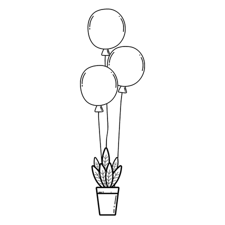 party balloons helium with houseplant vector illustration design Banque d'images - 125816869