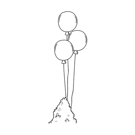 party balloons helium with bush vector illustration design 일러스트