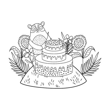 cute bear with sweet cake vector illustration design
