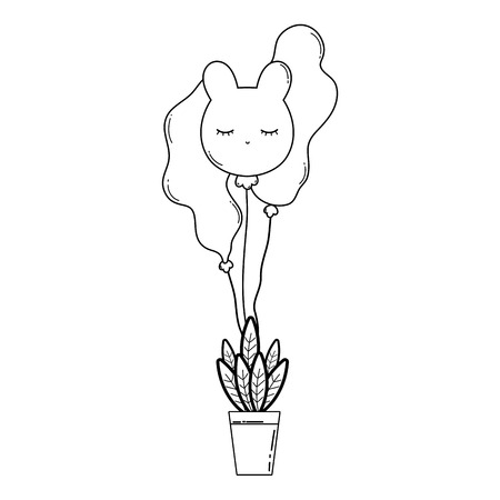 party balloons helium with houseplant vector illustration design Banque d'images - 125817019