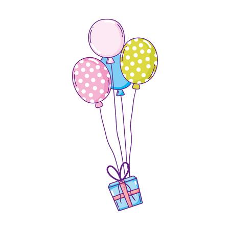 Ballons de fête à l'hélium avec des cadeaux vector illustration design