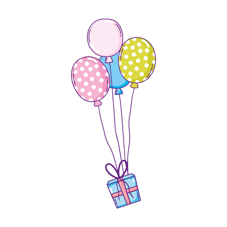 party balloons helium with gifts vector illustration design Banque d'images - 125817035