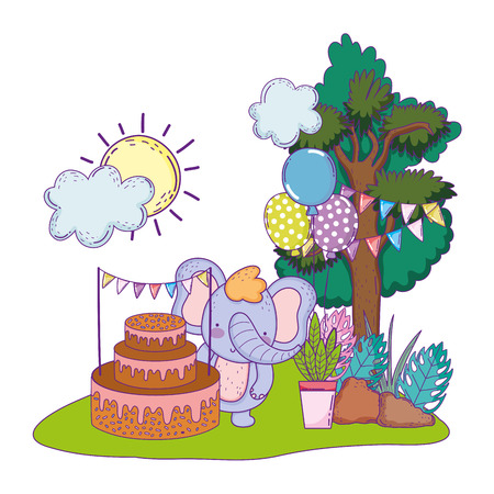 elephant with cake and balloons helium in the field vector illustration design