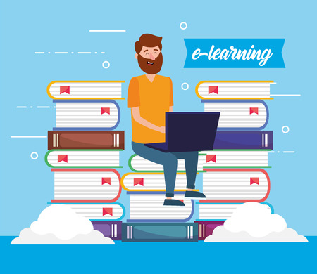 man with education books and laptop technology vector illustration Vetores