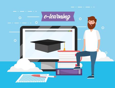 Hombre con conocimiento de libros y computadora y tableta ilustración vectorial Ilustración de vector