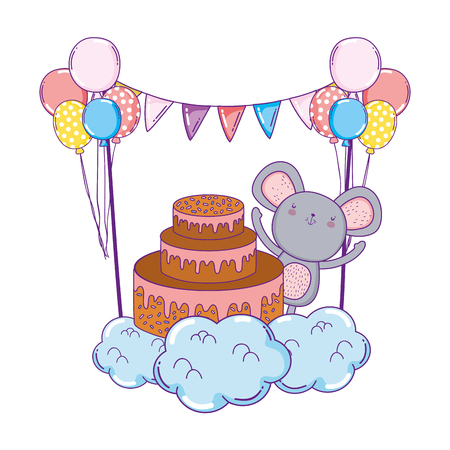 mouse with sweet cake and balloons helium vector illustration design