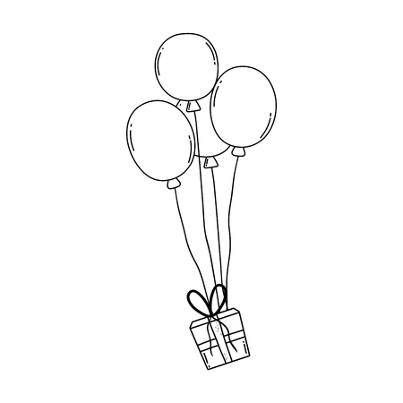 party balloons helium with gifts vector illustration design Иллюстрация