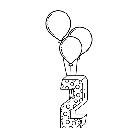 party balloons helium with candle number two vector illustration design Banque d'images - 125817347