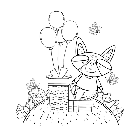 raccoon with balloons and gifts in the camp vector illustration design Illustration