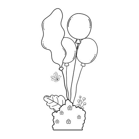 ballons de fête à l'hélium avec jardin de brousse Vecteurs