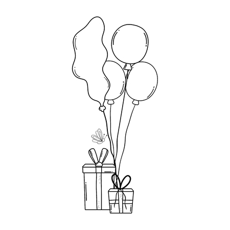 party balloons helium with gifts vector illustration design 일러스트