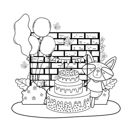 Mapache con pastel y globos de helio en el campo, diseño de ilustraciones vectoriales