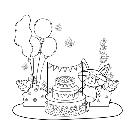 cute and little raccoon with sweet cake vector illustration design