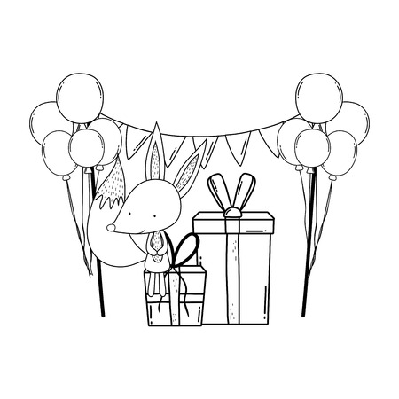 cute and little fox with balloons helium vector illustration design