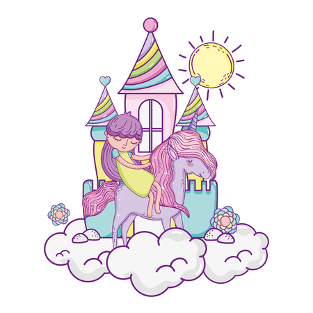 little unicorn and princess in the clouds with castle