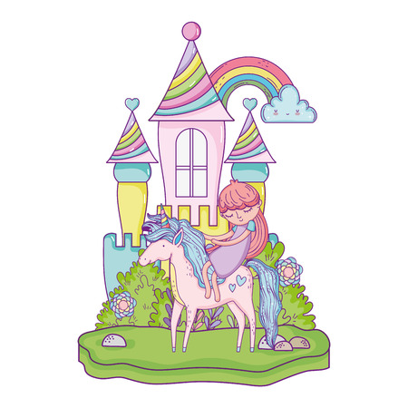 unicorn and princess in the castle with rainbow Stock Illustratie