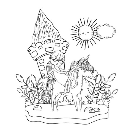 unicorn and princess with castle in the landscape