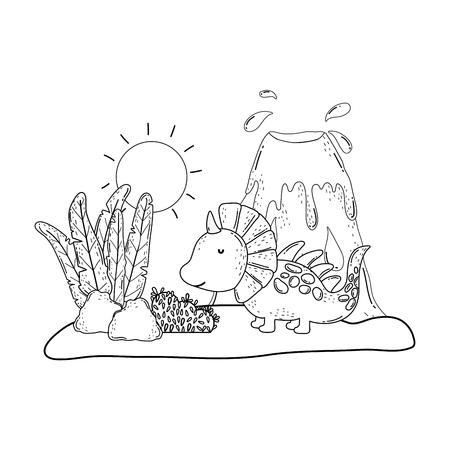cute dinosaur with volcano landscape vector illustration design Vectores