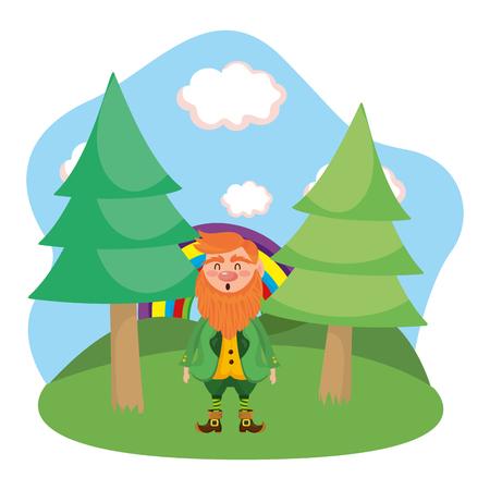 leprechaun rainbow landscape woods vector illustration