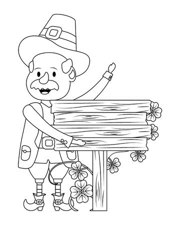 st patricks day leprechaun with wooden sign cartoon vector illustration graphic design