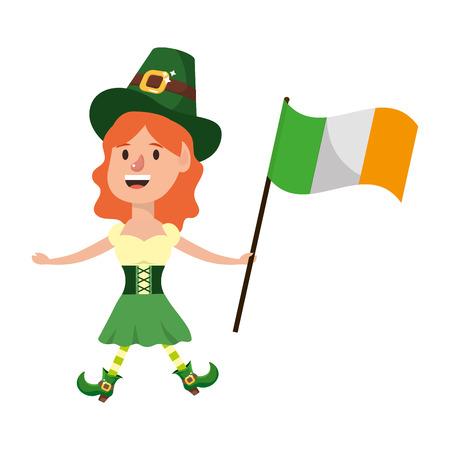 dwarf girl hat flag vector illustration