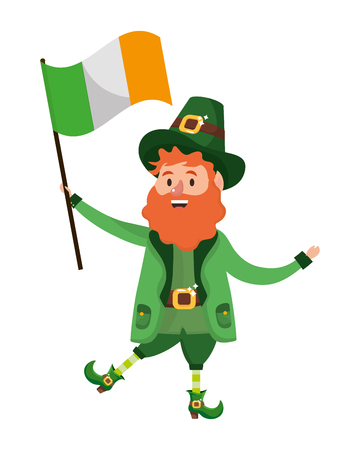 leprechaun dwarf man hat vector illustration