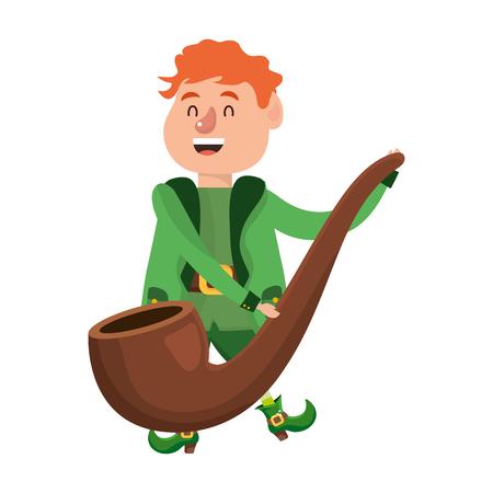 leprechaun dwarf holding pipe vector illustration Illustration