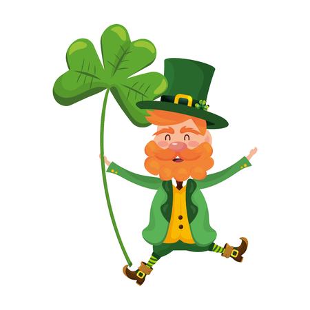 leprechaun dwarf man clover vector illustration
