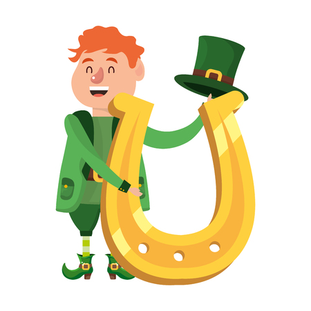 leprechaun dwarf man horseshoe vector illustration Illustration