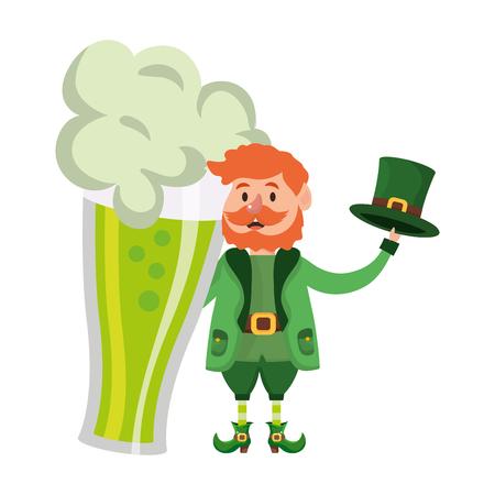 leprechaun dwarf man beer glass vector illustration