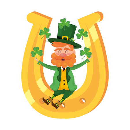 leprechaun dwarf man horseshoe juggle clovers vector illustration