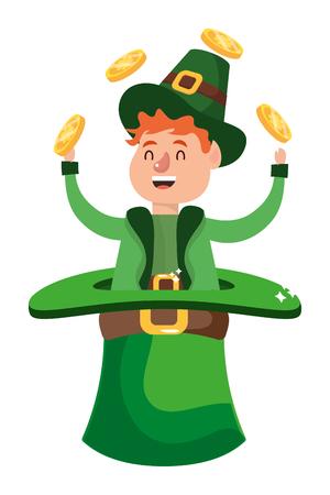 leprechaun dwarf man juggle gold hat vector illustration Stock Illustratie