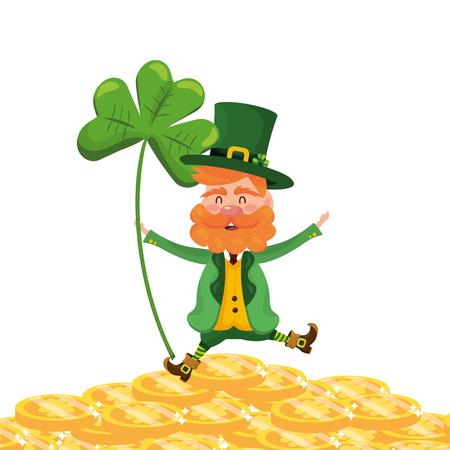 leprechaun dwarf man clover fortune vector illustration