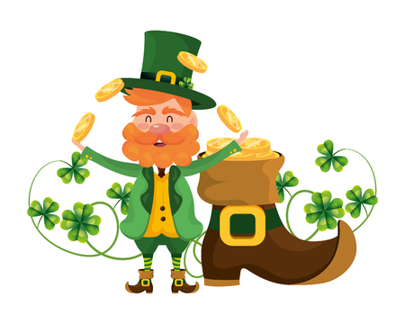 shoe leprechaun sliding juggle vector illustration