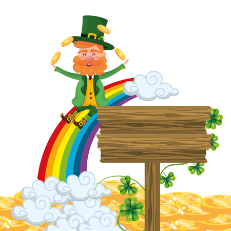 rainbow leprechaun sliding juggle vector illustration Vectores
