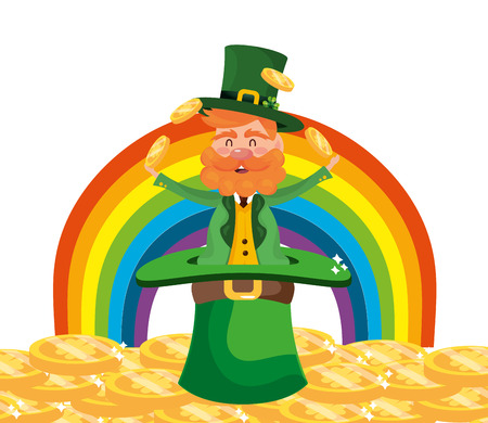 leprechaun dwarf man juggle gold rainbow vector illustration Vectores