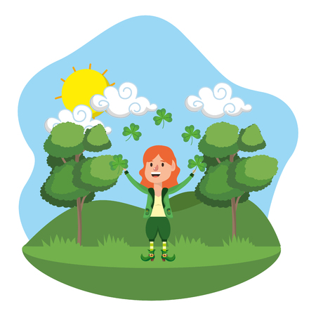 dwarf girl juggle clovers outdoors vector illustration