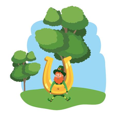leprechaun dwarf man horseshoe outdoors vector illustration