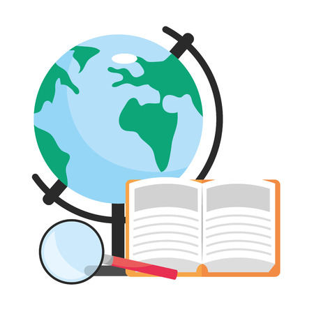world map with book and magnifying glass cartoon vector illustration graphic design