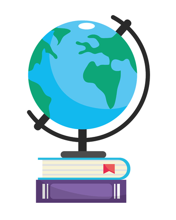 world map with books cartoon vector illustration graphic design