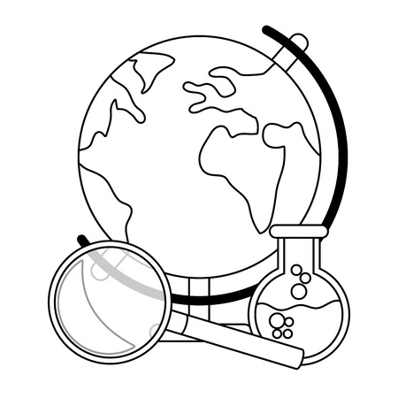 world map with magnifying glass and beaker cartoon vector illustration graphic design