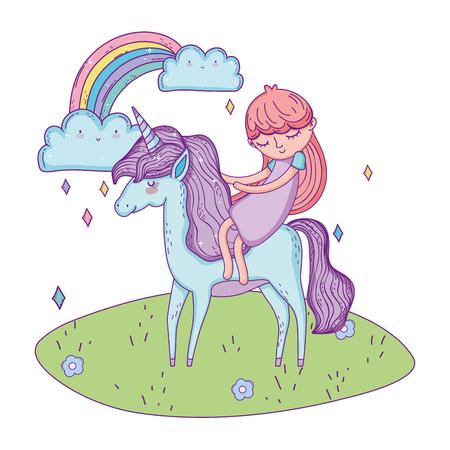 beautiful little unicorn with princess in the landscape vector illustration design