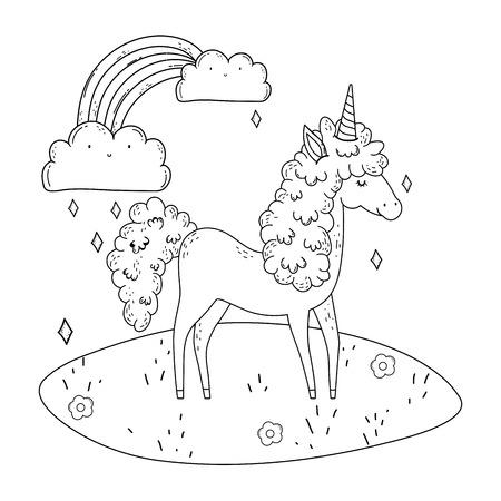 beautiful little unicorn with rainbow in the landscape vector illustration design Illusztráció
