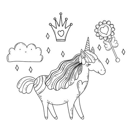 beautiful little unicorn character vector illustration design