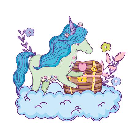 beautiful little unicorn in the clouds vector illustration design Illusztráció